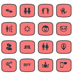 Set of simple friends icons vector