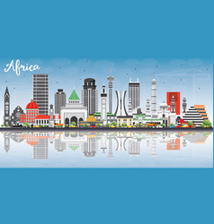 Africa skyline with famous landmarks and vector