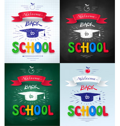Collection of welcome back to school posters vector