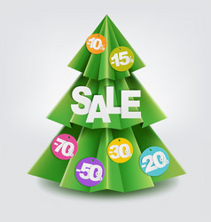 Sale christmas paper tree vector
