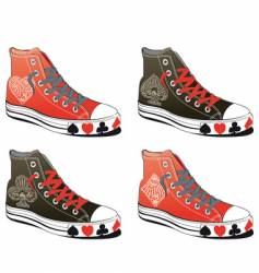 Shoes with poker symbol vector