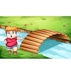 A fat man jogging near the bridge vector image