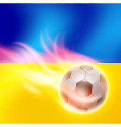 Burning football on ukraine flag background vector