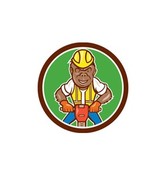 Gorilla construction jackhammer circle cartoon vector