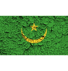 Flag of mauritania with old texture vector