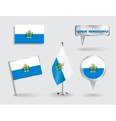 Set of san marino pin icon and map pointer flags vector
