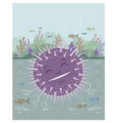 Urchin floating in the sea vector