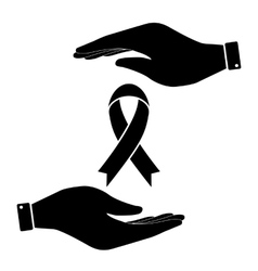 Awareness ribbon in hand icon vector