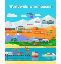 Worldwide warehouse design flat vector