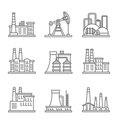 Heavy industry power plant and factory thin line vector