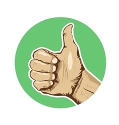 Closeup of human hand giving thumbs-up vector