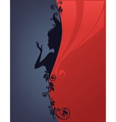 background with floral girl silhouette vector image vector image