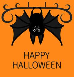 Bat hanging happy halloween cute cartoon vector