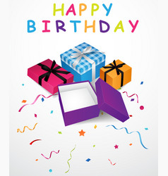 Birthday background with gift box and confetti vector