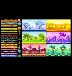 bright isometric game landscapes set vector image vector image