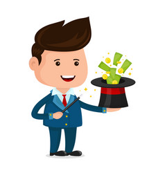businessman magician a magic wand vector image