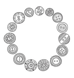 Circle frame with cloth buttons in boho style vector