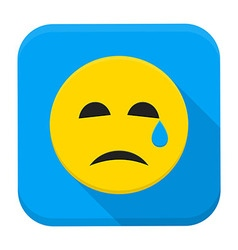 Crying yellow smiley face app icon vector