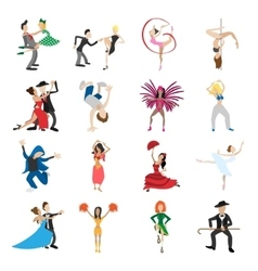 Dances cartoon icons set vector