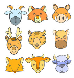 Doodle of animal colorful style vector