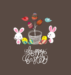 easter eggs tree bunny and birds vector image