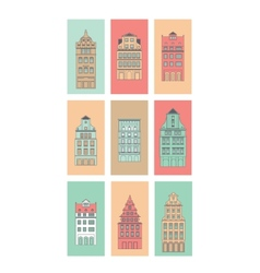European houses set vector