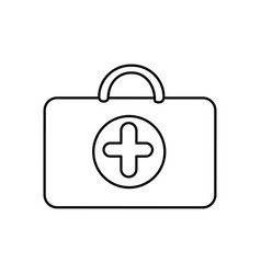 Figure suitcase healthcare with hospital symbol vector