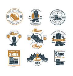 footwear store logo set shoe style premium vector image vector image