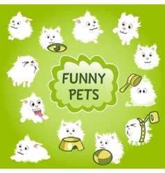 Funny white pets icon on a green background vector
