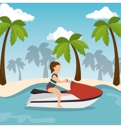 Jet ski girl riding beach vector