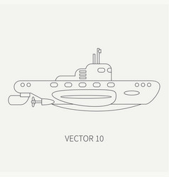 Line flat retro icon naval submarine vector