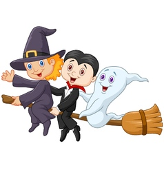 Little children and ghost fly with broom vector image vector image