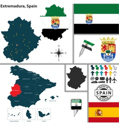 Map of Extremadura vector image vector image