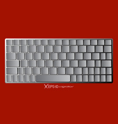 Modern chrome laptop bluetooth keyboard isolated vector