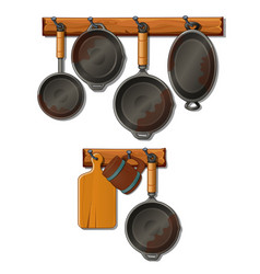 Pots pans cutting board and mug kitchen utensils vector