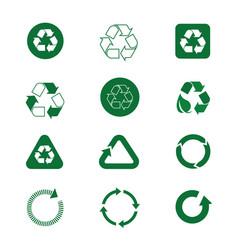 recycle symbol green arrows logo set web icon vector image