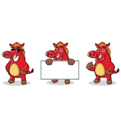 Red Wild Pig Mascot happy vector image vector image