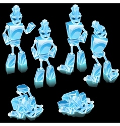 Robot of ice blocks cartoon character vector
