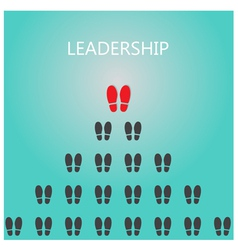 Shoe prints with leadership concept vector image