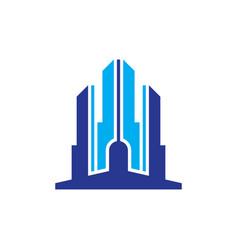 skyscraper building business logo vector image