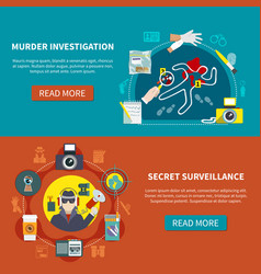 two detective banner set vector image vector image