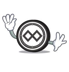 Waving tenx coin character cartoon vector
