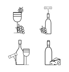 Wine bottles and glass with grape cheese and vector