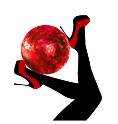 Woman legs holding a disco ball vector