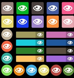 Eye icon sign set from twenty seven multicolored vector