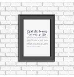 Photo frame brick wall vector