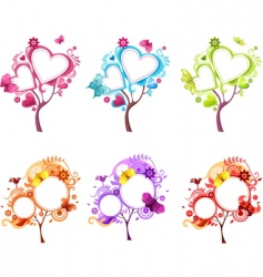 Heart tree set vector