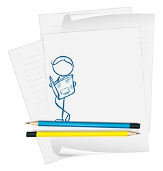 A paper with a drawing of a man reading a vector image