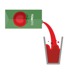 packaging and glass of tomato juice pour tomato vector image