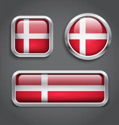 Denmark flag glass buttons vector image